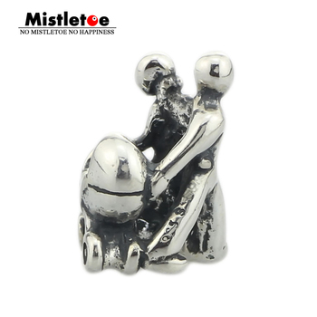 Mistletoe Genuine 925 Sterling Silver Family Charm Bead Fits European Brand 3.0 mm Bracelet & Necklace Jewelry
