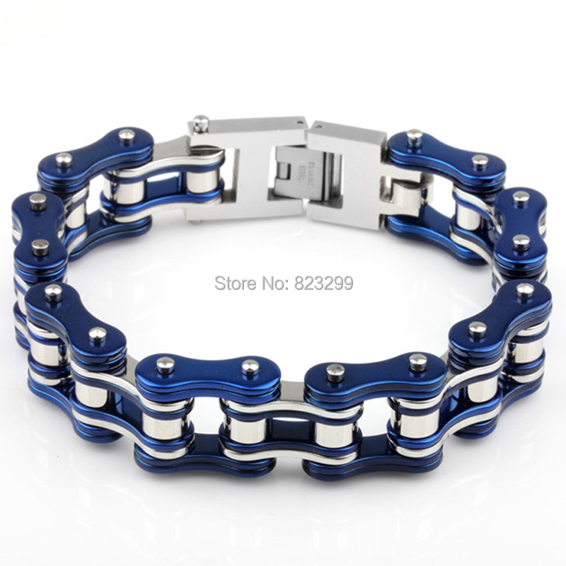 19mm Wide Top Quality Mens Boys Blue Silver Tone 316L Stainless Steel Biker Motorcycle Chain Bracelet