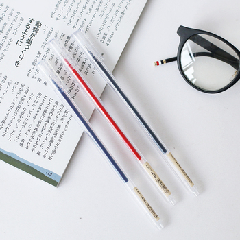JIANWU 3pcs MUJI style transparent minimalist neutral pen gel pen set stationery gel pen refill school supplies 0.5mm