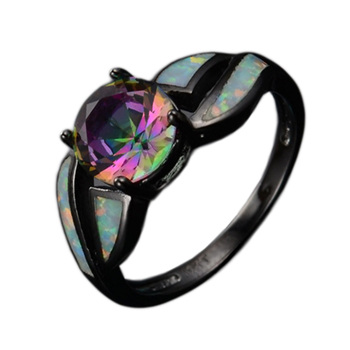 2017 Charming White Fire Opal Ring Colorful Men Women Rainbow Jewelry Black Alloy Filled Engagement Rings