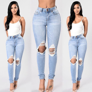 KL925 Women skinny push up jeans mid waist stylish vintage knee hole ripped jeans for women pencil pants